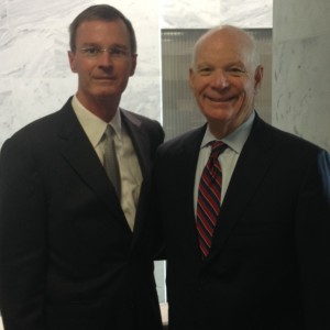 From left: In-coming ACG National Affairs Committee Chair, Whitfield Knapple, MD, FACG, Sen. Ben Cardin, (D-MD)