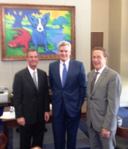 rom left to right: In-coming ACG National Affairs Committee Chair, Whitfield Knapple, MD, FACG. Sen. Bill Cassidy, MD (R LA) and ACG National Affairs Committee Chair, Caroll Koscheski, MD FACG.