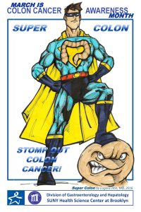 Dr. Han created the Super Colon superhero to raise awareness in March, which is Colon Cancer Awareness Month.